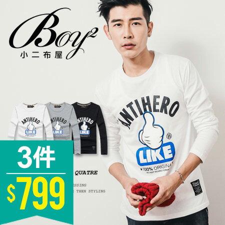 ☆BOY-2☆【JB1262-1】休閒LIKE按讚長T恤 0