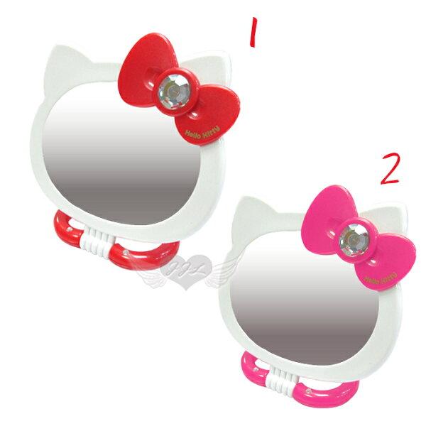 台灣製HELLO KITTY造型鏡子雙面鏡手拿鏡折疊鏡化妝鏡立鏡放大鏡子 2選1 25121399*JJL*