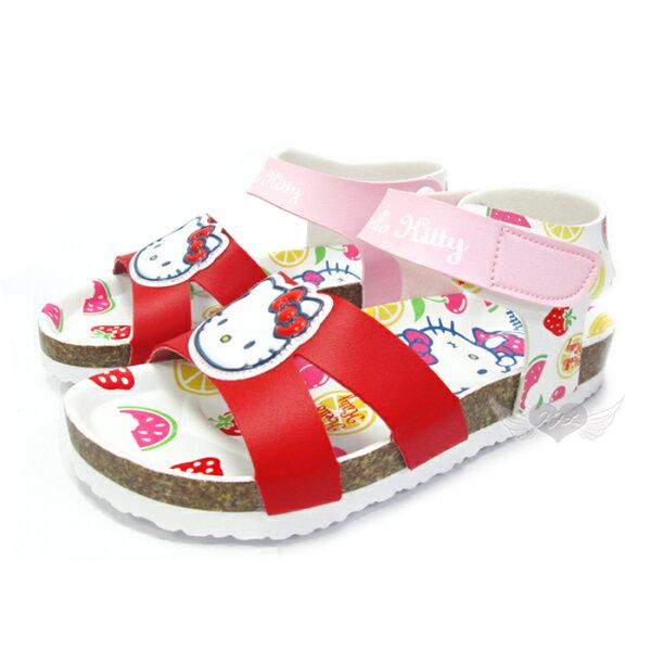台灣製HELLO KITTY兒童涼鞋軟木鞋紅色13~19cm 7選1 95711810*JJL*