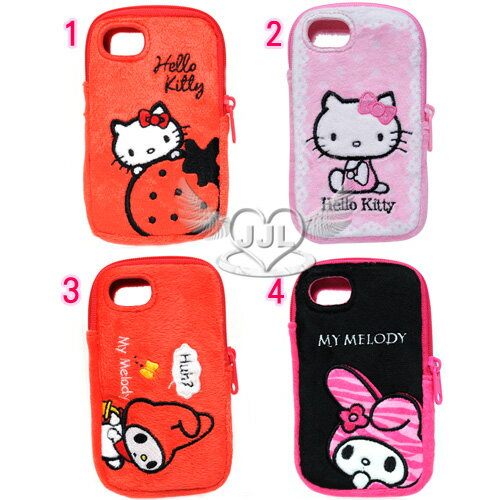 *JJL*HELLO KITTY美樂蒂絨毛iPhone4手機袋手機套 4選1  43022585