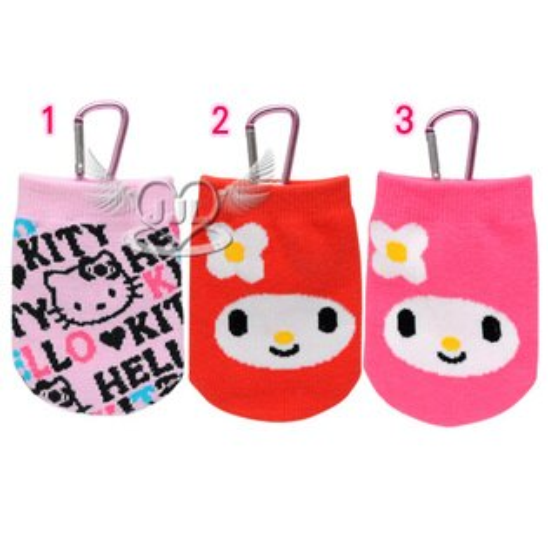 *JJL*HELLO KITTY美樂蒂襪子造型手機袋置物袋附鋁勾 3選1  72523928
