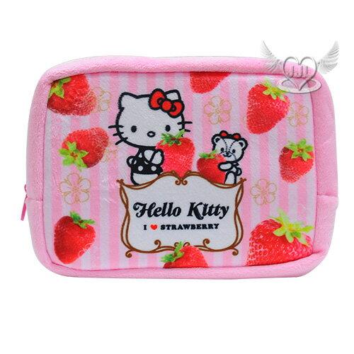 HELLO KITTY草莓季絨毛化妝包筆袋收納包  523329*JJL*