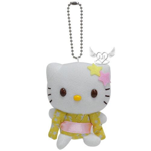 HELLO KITTY穿和服絨毛娃娃玩偶珠鍊吊飾掛飾鑰匙圈  501138* JJL*