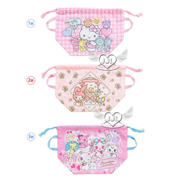 日本製HELLO KITTY美樂蒂寶石寵物束口便當袋餐袋束口袋收納袋 3選1  10260623*JJL*
