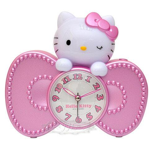 *JJL*台灣製HELLO KITTY立體大頭蝴蝶結型鬧鐘時鐘 135616
