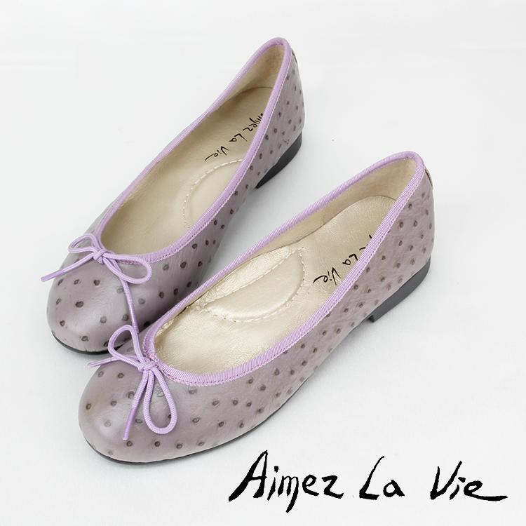 經典 鴕鳥紋 芭蕾舞平底娃娃鞋(五色)Aimez La Vie - 限時優惠好康折扣