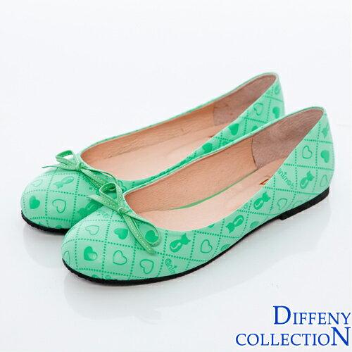 DN 俏皮可愛拼接菱格娃娃鞋-綠