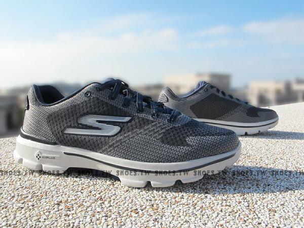 [28cm] Shoestw【54040CCNV】SKECHERS 健走鞋 GOWALK3 全新Q彈底 鐵灰 網布 男款