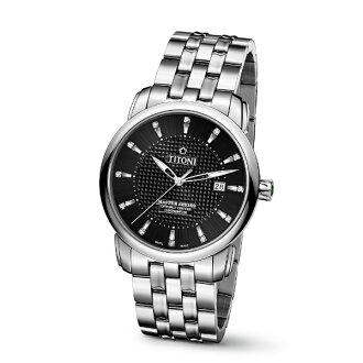 TITONI瑞士梅花錶大師系列83788S-392真鑽天文台機械腕錶/黑面41mm