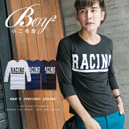 ☆BOY-2☆【NR05096】簡約修身素面RACING短T 0