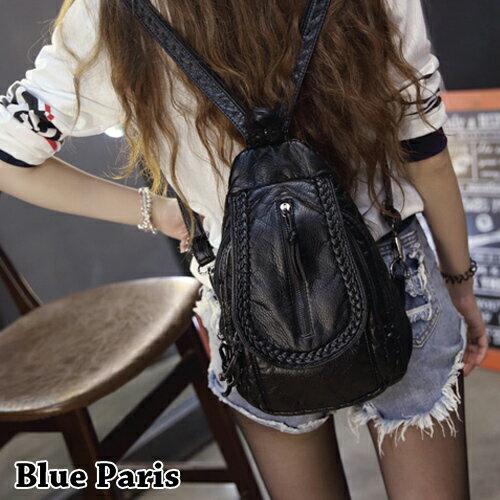 包包 - 編織造型背後拉鍊設計皮背包【21554】 藍色巴黎 - 現貨+預購 0