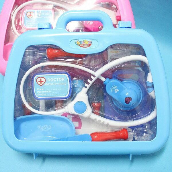 寶寶醫護組 (藍色)手提箱護士醫生遊戲玩具組 附針筒聽診器 手提醫生組/一個入{促350}~創I-4777