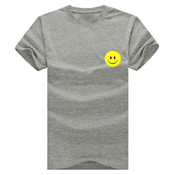 ◆快速出貨◆T恤.情侶裝.班服.MIT台灣製.獨家配對情侶裝.客製化.純棉短T.左胸簡單黃色笑臉【YC366】可單買.艾咪E舖 5