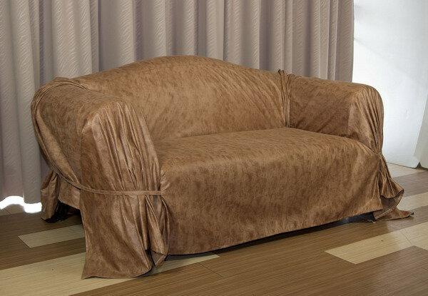 ◎幸福傢飾◎素面素色~麂皮沙發套/沙發罩 咖啡色 1+2+3人座組合~加贈止滑墊