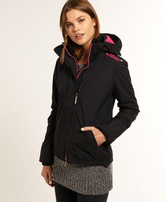 [女款]英國極度乾燥 Superdry Arctic Windcheater 女款 三層拉鍊連帽保暖防風外套 絕版白標 黑桃 1