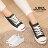 格子舖*【KP1065】經典女款開口笑 嚴選韓版百搭基本款 時尚皮革綁帶帆布鞋 黑白2色 0