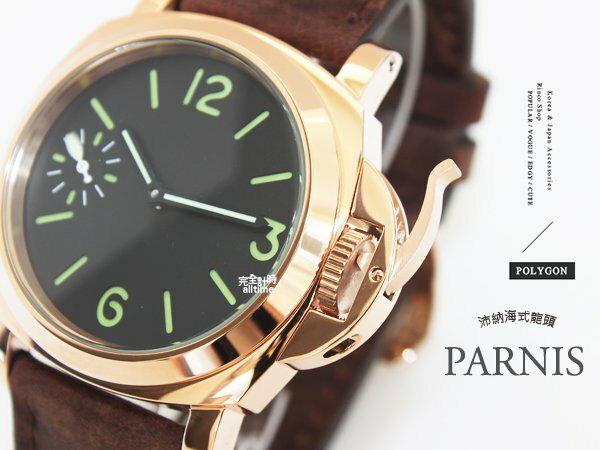 【完全計時】手錶館│PARNIS 瑞典軍錶風格 玫瑰金質感手動上鍊機械錶 後鏤空 PA3099 l 麂皮限定版