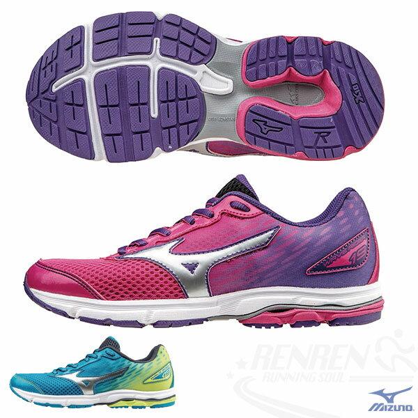 MIZUNO 美津濃 WAVE RIDER 19 Jnr.  大童鞋(粉*紫)親子鞋