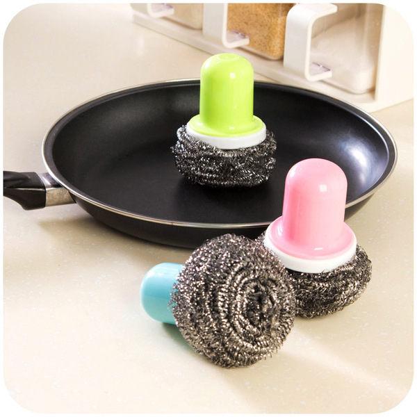 PS Mall 帶柄鋼絲球刷子清潔球 洗鍋刷子 刷具【J1740】