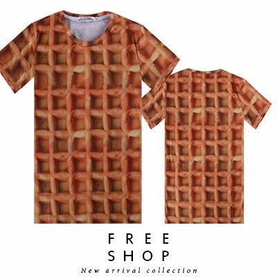 Free Shop~QFSLY3353~日韓美式潮流特寫鬆餅格紋滿版印刷圓領棉質短T短袖上