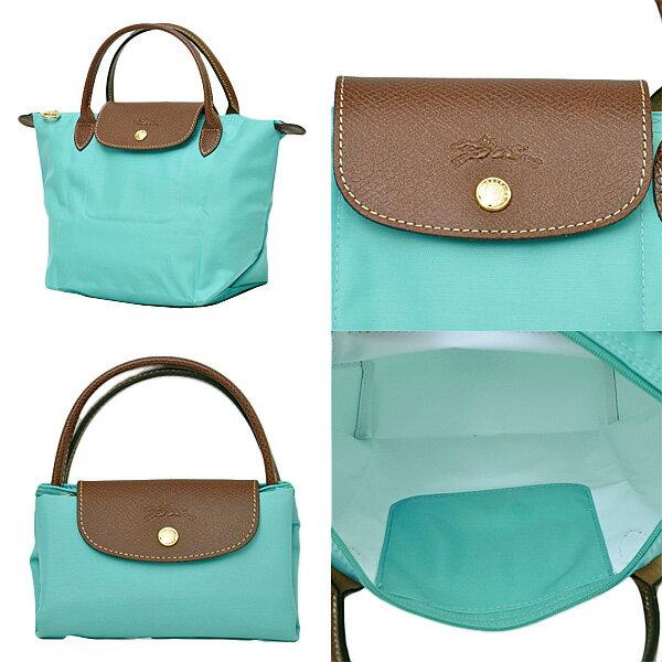 [短柄S號]國外Outlet代購正品 法國巴黎 Longchamp [1621-S號] 短柄 購物袋防水尼龍手提肩背水餃包 湖綠色 2