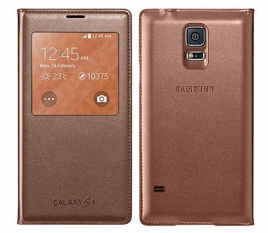 SAMSUNG GALAXY S5 G900I原廠S View側掀皮套 視窗感應式手機皮套【東訊盒裝】-金色