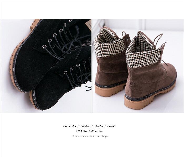 格子舖*【KDLF2107】基本款經典流行 質感麂皮拼接格紋 繫帶個性百搭短筒靴 短靴 工作靴 3色 2