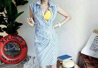 SANDY-長版藍白拼接抓皺襯衫洋裝
