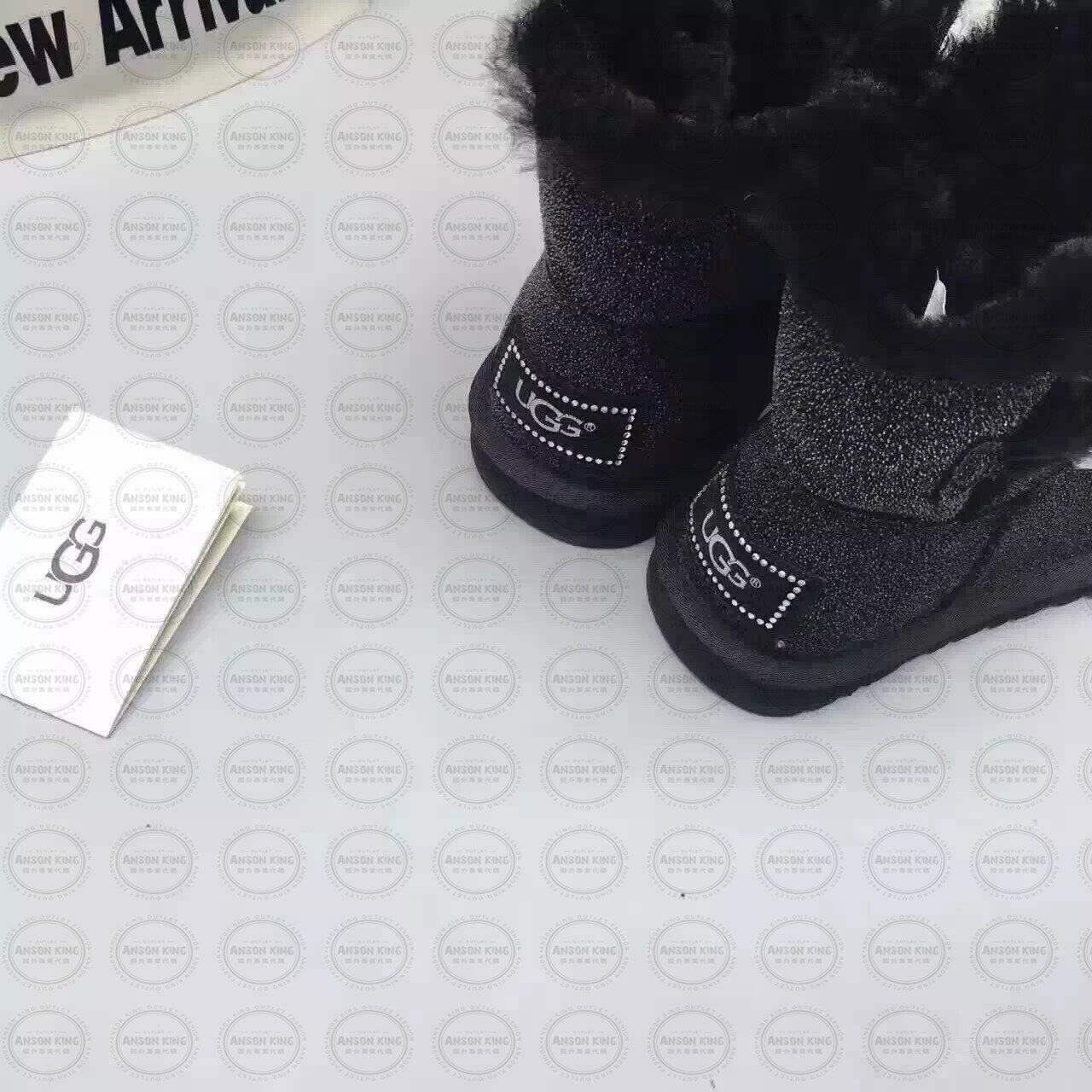OUTLET正品代購 澳洲 UGG 明星同款水晶扣短靴 保暖 真皮羊皮毛 雪靴 短靴 黑色 2