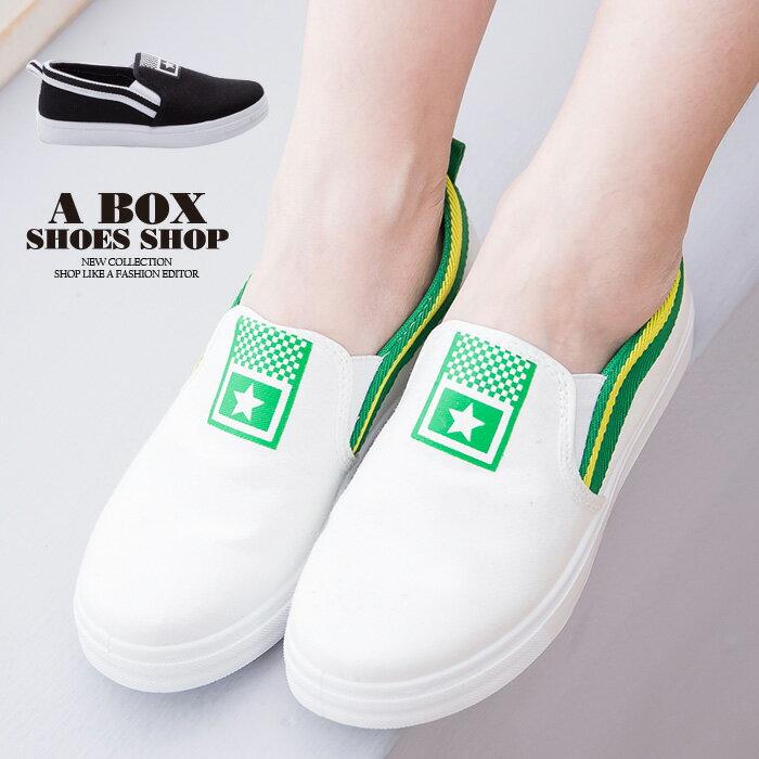 格子舖*【ASA-11】青春校園百搭 星星撞色條紋 布面/帆布鞋 休閒懶人鞋 2色 0