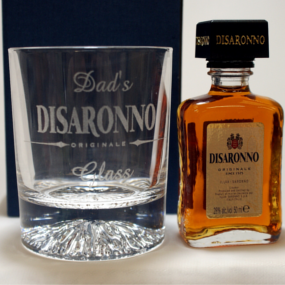Engraved/Personalised Alaska DISARONNO Glass and Miniature