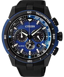 CITIZEN星辰CA4155-04L急速湛藍光動能計時碼表/藍面48mm