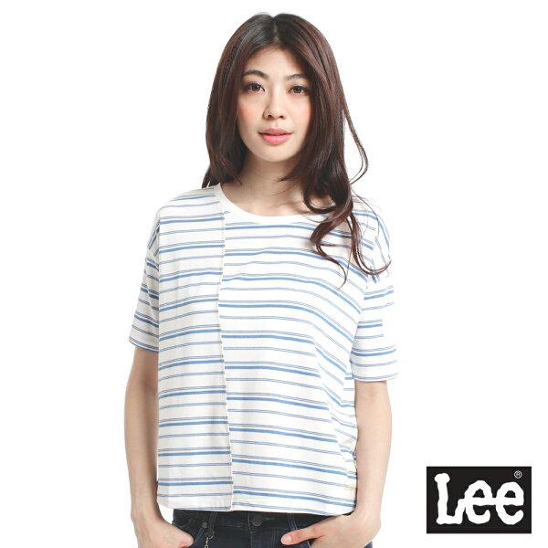 【 3折優惠↘ 】Lee  橫條紋寬板縮袖短袖T恤