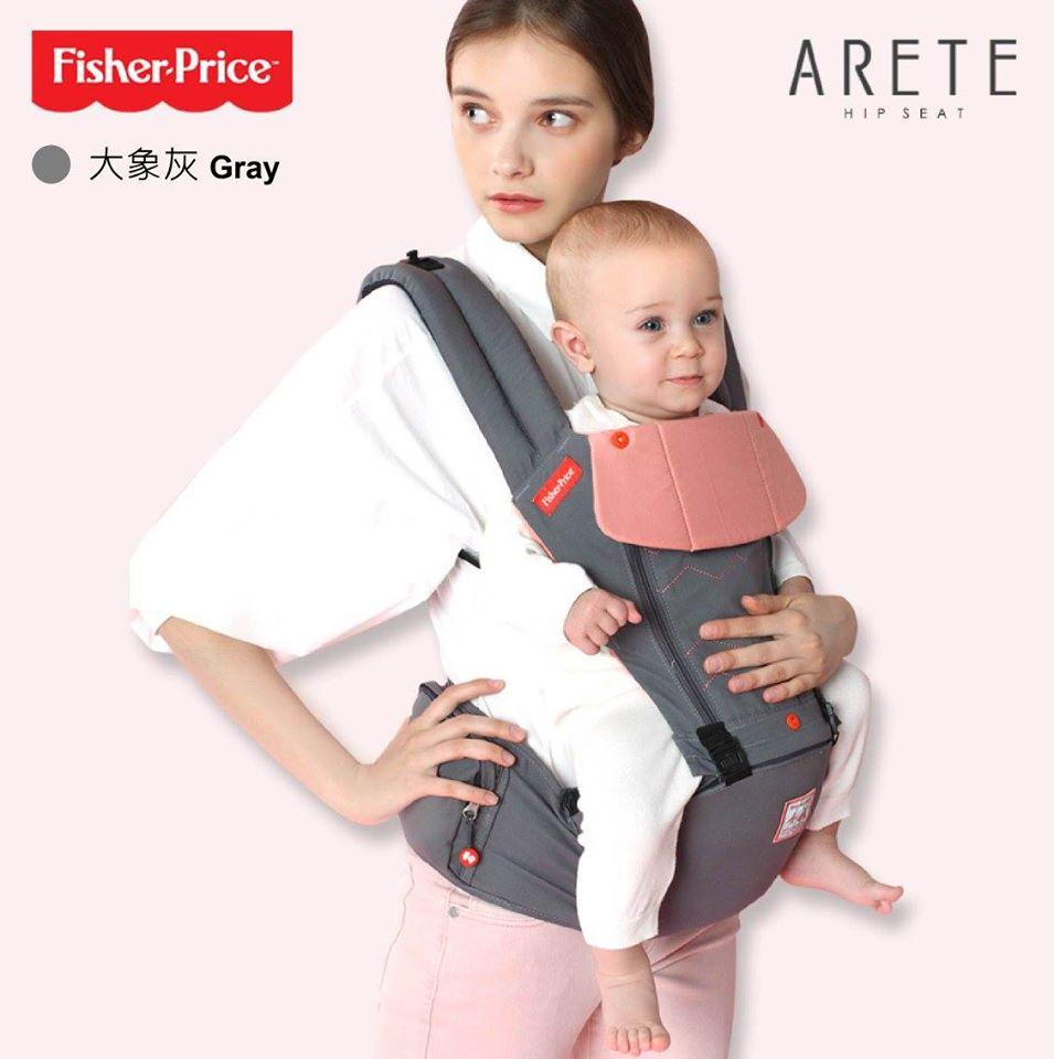 【Fisher-Price費雪】ARETE艾瑞特腰凳式揹巾(背巾)-大象灰 3