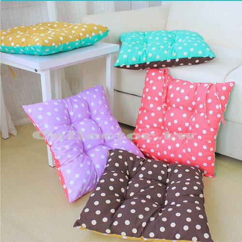 ~M16011603~糖果色雙面圓點方形保暖坐墊 繫帶可固定辦公椅墊座墊
