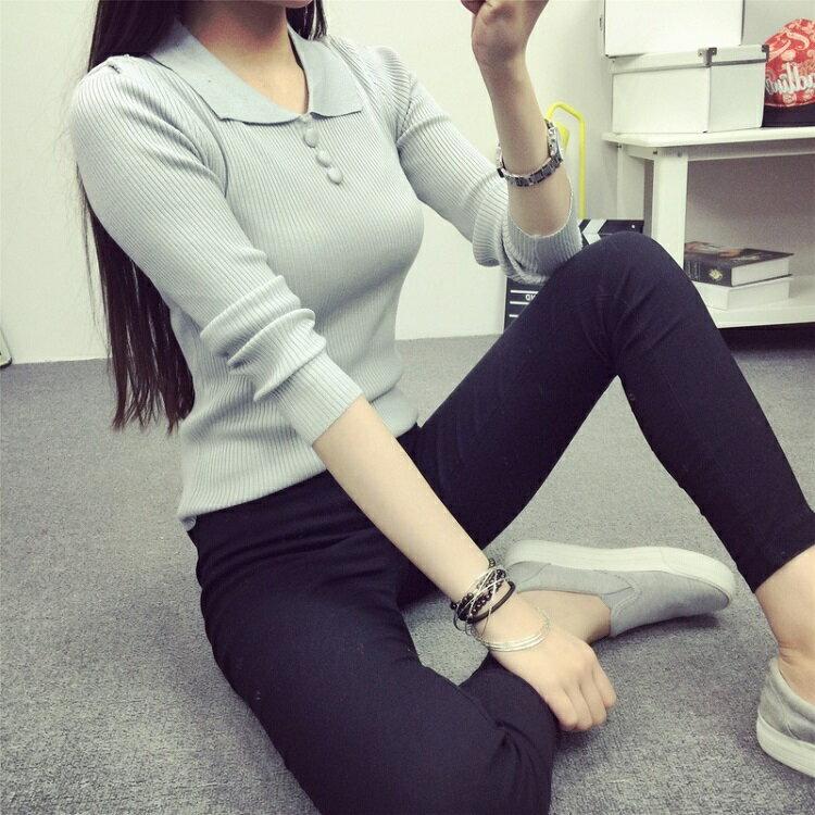 PS Mall  長袖修身娃娃領打底針織衫毛衣~T2713~ ~  好康折扣