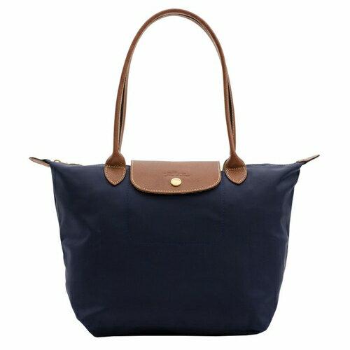 [2605-S號]國外Outlet代購正品 法國巴黎 Longchamp  長柄 購物袋防水尼龍手提肩背水餃包 海軍藍