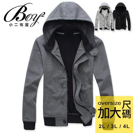 ☆BOY-2☆ 【OE227-00】加大尺碼高質感鈕釦立領連帽外套 0