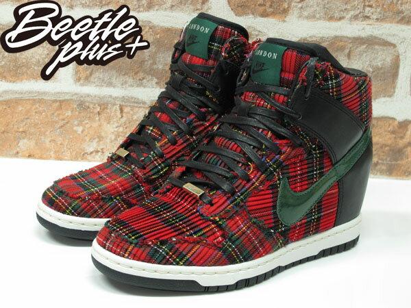 BEETLE PLUS NIKE WMNS DUNK SKY HI CITY FW QS LONDON 紅綠 格紋 楔形 內增高 女鞋 598216-001 1