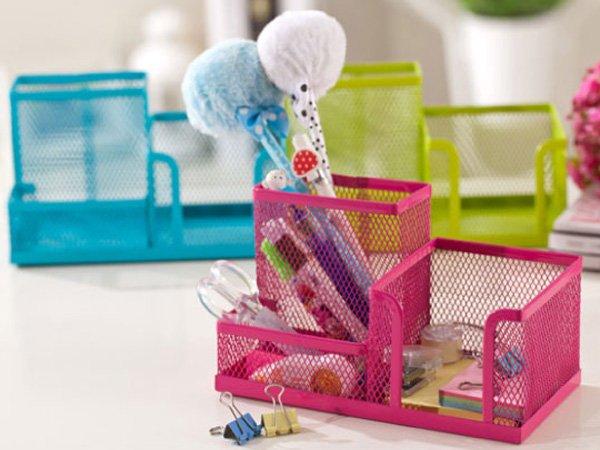 BO雜貨~SV6136~韓國 桌面彩色鐵網 筆筒 辦公桌面收納 化妝品 學生文具書辦公廚房