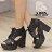 格子舖*【KDW2772】MIT台灣製 雜誌推薦款 皮革防水台粗高跟繫帶露趾魚口短靴 踝靴 2色 0