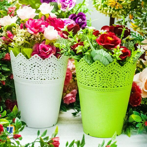 {九聯百貨} 2色 (小) 藝術花邊 家飾籃 造型花盆 (花邊造型) 桌上盆 塑膠花盆 2色 (小)