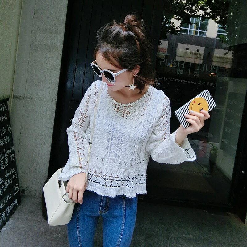 PS Mall 純色縷空長袖上衣罩衫蕾絲衫T恤~T2495~ ~  好康折扣
