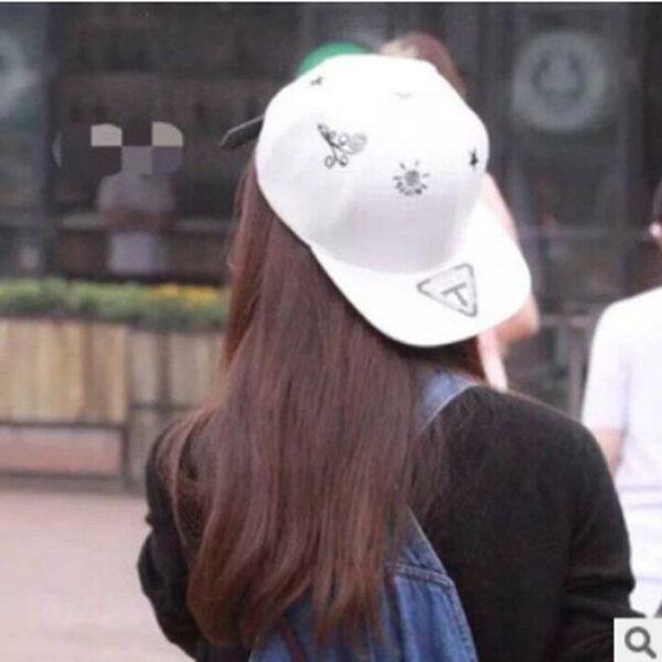 50%OFF【E08369H】韓版明星同款帽子女太陽星星圖案 棒球帽running man TFBOYS GD BIGBANG EXO