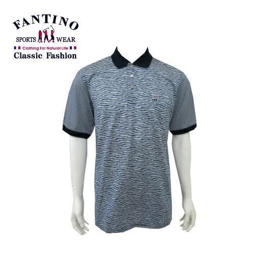 【FANTINO】 男款 65支雙絲光休閒斑馬紋棉衫 (丈青) 431315