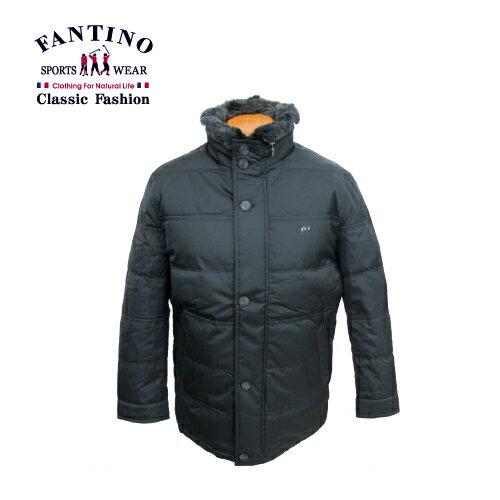 【FANTINO】型男秋冬嚴選‧獭兔毛領羽絨外套(黑) 245338