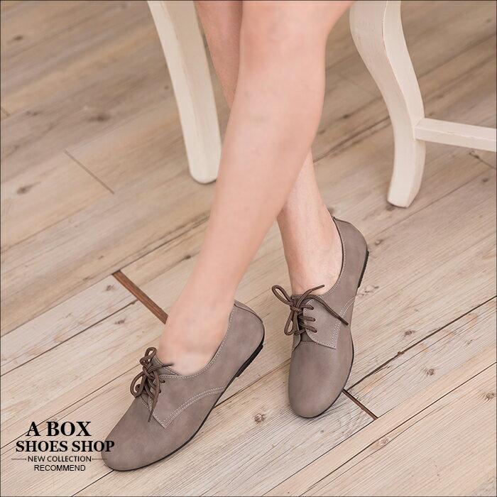 格子舖*【AP891】MIT台灣製馬卡龍色系素面綁帶皮質牛津鞋平底包鞋 6色 2