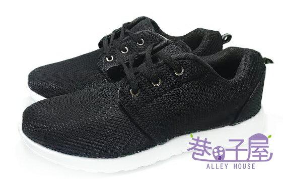 【巷子屋】男款素面超輕量網布透憩運動慢跑鞋 [1338] 黑 超值價$398