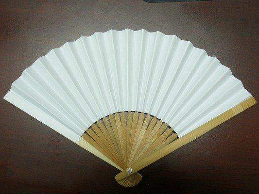 台灣製紙扇子 8英吋半紙扇子 空白扇子 彩繪扇子 21.5cm手繪扇(小紙摺竹片單面紙)MIT製/一支入{定25}