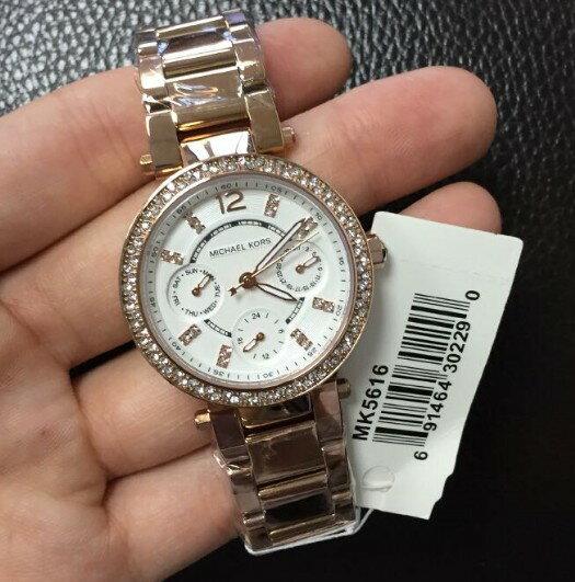 美國Outlet正品代購 MichaelKors MK  玫瑰金陶瓷 水鑽 三環 手錶 腕錶 MK5616 4